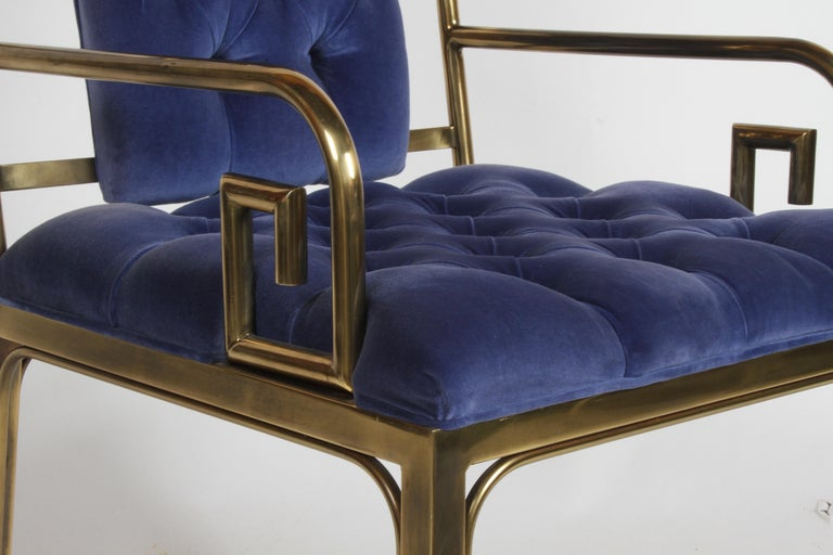 Set of Eight Brass Mastercraft Greek Key Hollywood Regency Dining Chairs In Good Condition For Sale In St. Louis, MO