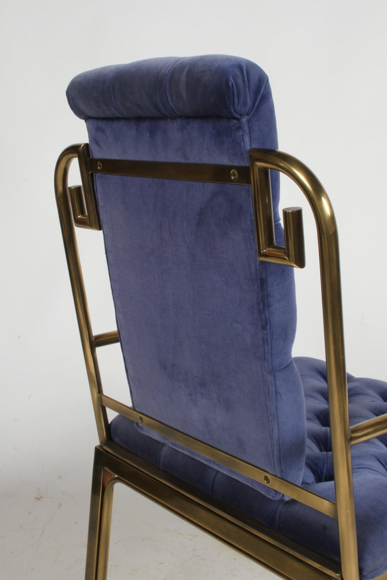 Set of Eight Brass Mastercraft Greek Key Hollywood Regency Dining Chairs For Sale 2