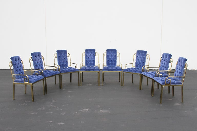 Set of Eight Brass Mastercraft Greek Key Hollywood Regency Dining Chairs For Sale 3