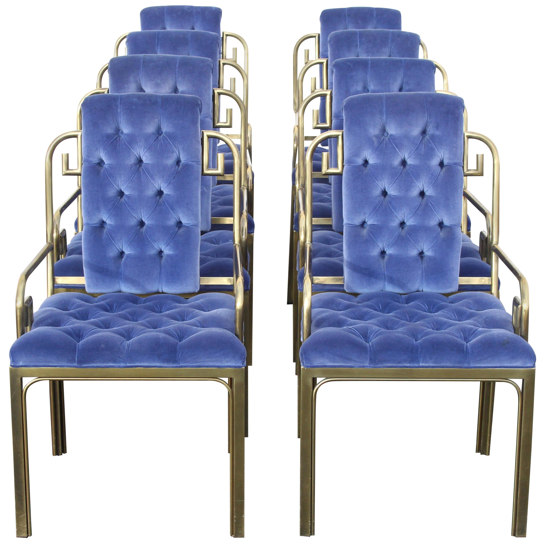 Set of Eight Brass Mastercraft Greek Key Hollywood Regency Dining Chairs