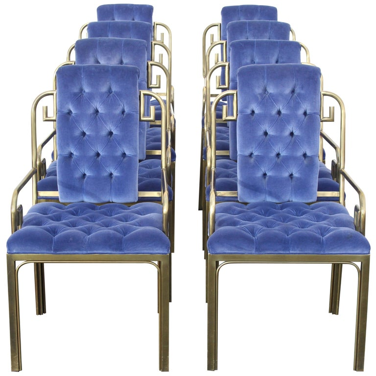 Set of Eight Brass Mastercraft Greek Key Hollywood Regency Dining Chairs For Sale