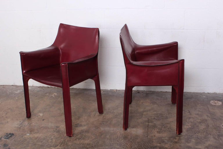 Set of Eight Cab Chairs by Mario Bellini for Cassina For Sale 8