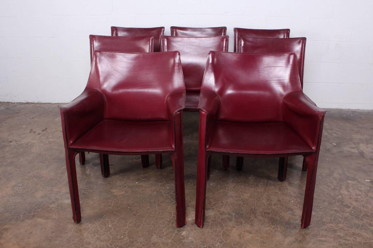 Set of Eight Cab Chairs by Mario Bellini for Cassina For Sale 1