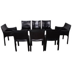 Set of Eight Cab Chairs by Mario Bellini for Cassina