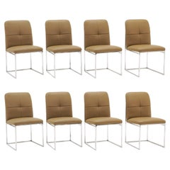 Set of Eight Cal-Style Tan Colored Dining Chairs