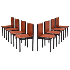 Set of Eight 'Caprile' Chairs in Red Leather by Gianfranco Frattini