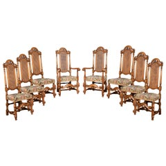 Set of Eight Carolean Style High Back Chairs