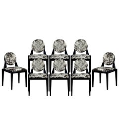 Set of Eight Carrocel Custom Art Deco Inspired Arrondi Dining Chairs