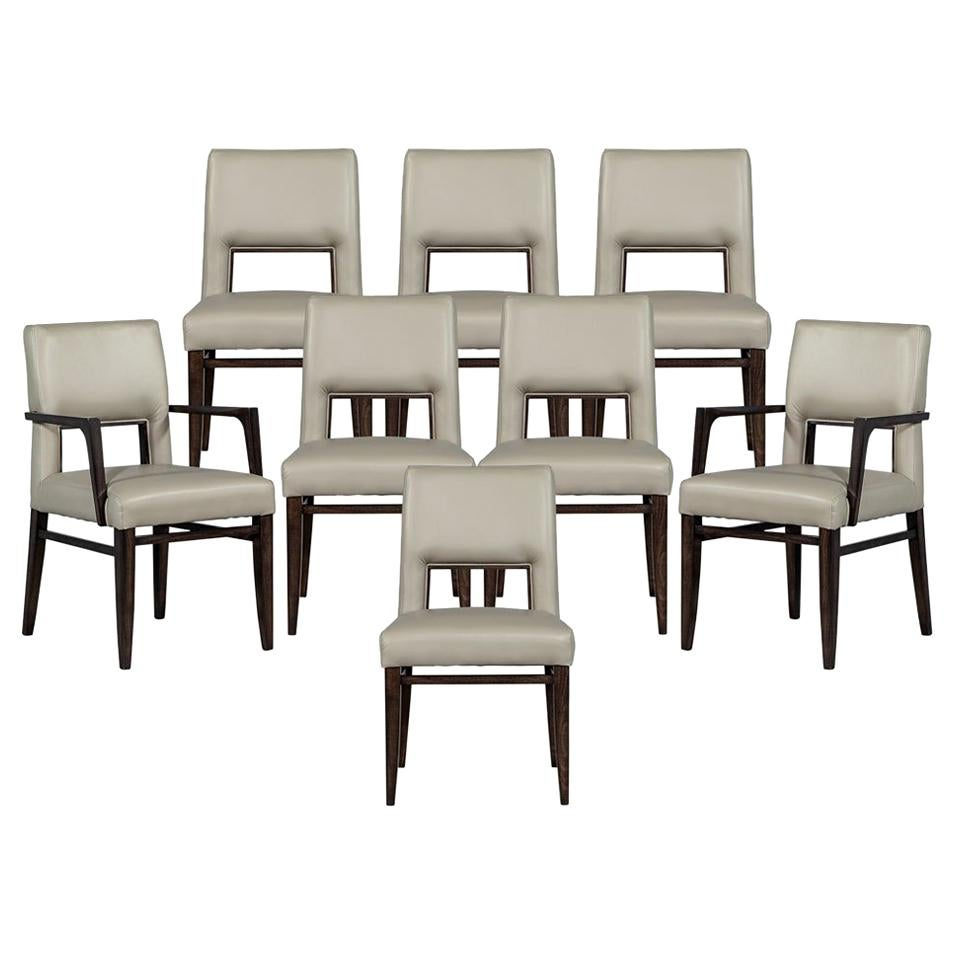 Set of Eight Carrocel Custom Modern Leather Finito Dining Chairs