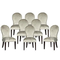 Set of Eight Carrocel Custom Modern Spoon Back Dining Chairs