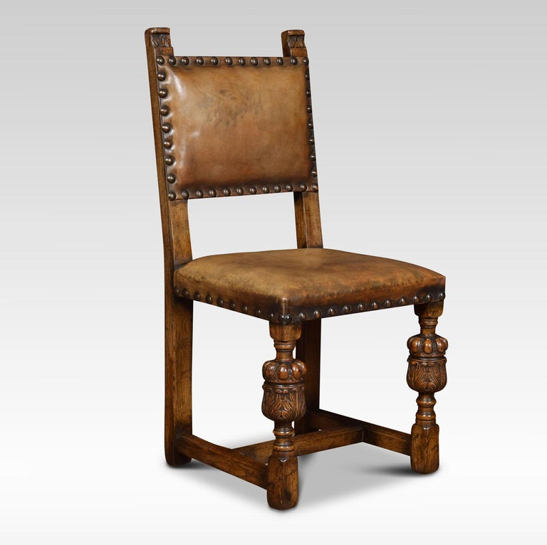 British Set of Eight Carved Oak Dining Chairs For Sale