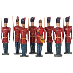 Set of Eight Carved Wood English Soldiers
