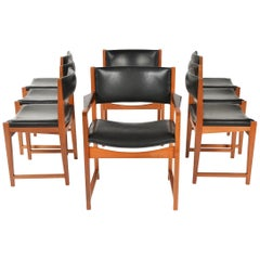 Set of Eight Dining Chairs in Teak with Black Leather Seat and Backs