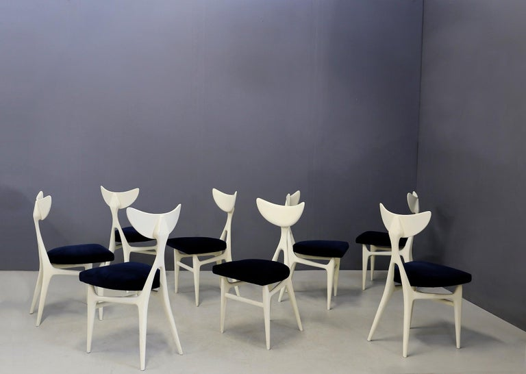 Set of Eight Chairs Midcentury by Ennio Canino in White and Blue Published, 1954 For Sale 4