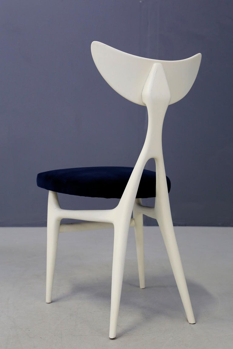 Set of Eight Chairs Midcentury by Ennio Canino in White and Blue Published, 1954 For Sale 5