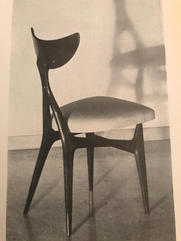 Set of Eight Chairs Midcentury by Ennio Canino in White and Blue Published, 1954 For Sale 6