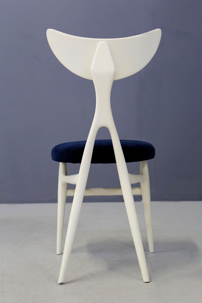 Velvet Set of Eight Chairs Midcentury by Ennio Canino in White and Blue Published, 1954 For Sale