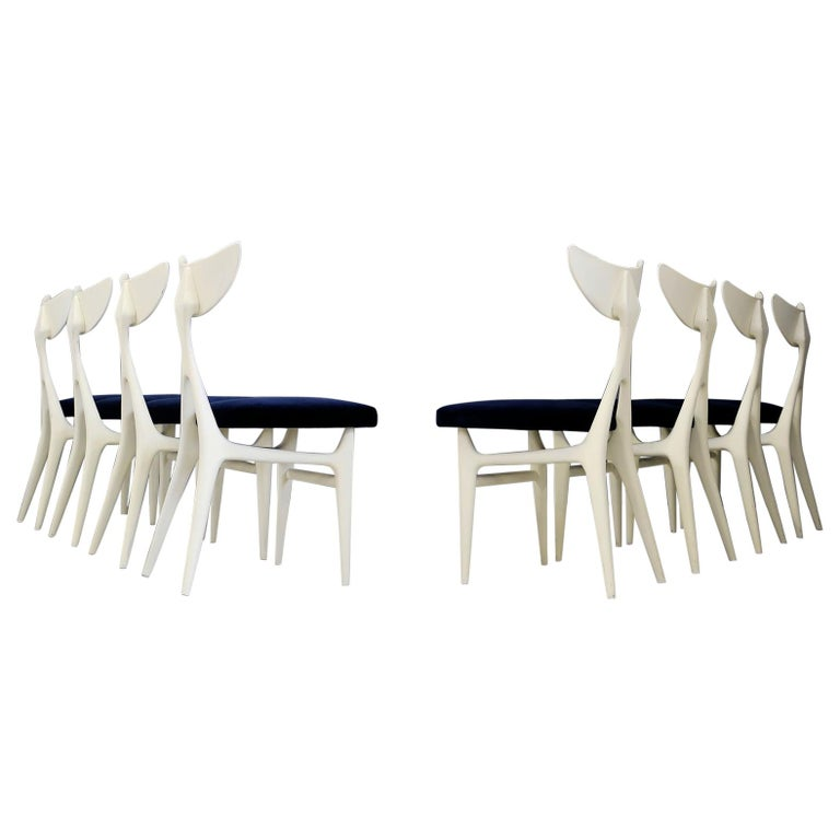 Set of Eight Chairs Midcentury by Ennio Canino in White and Blue Published, 1954 For Sale