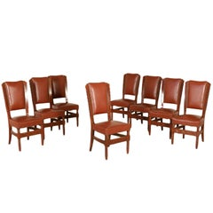 Set of Eight Chairs Stained Beech Leatherette Vintage, Italy, 1950s