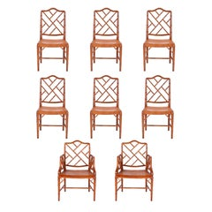 Set of Eight Chinese Chippendale Faux Bamboo Dining Chairs