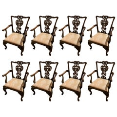 Set of Eight Chippendale Mahogany Dining Chairs 20th C with Carved Backs