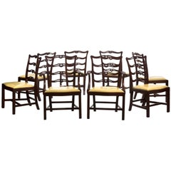 Set of Eight Chippendale Style Carved Mahogany Dining Chairs, 20th Century