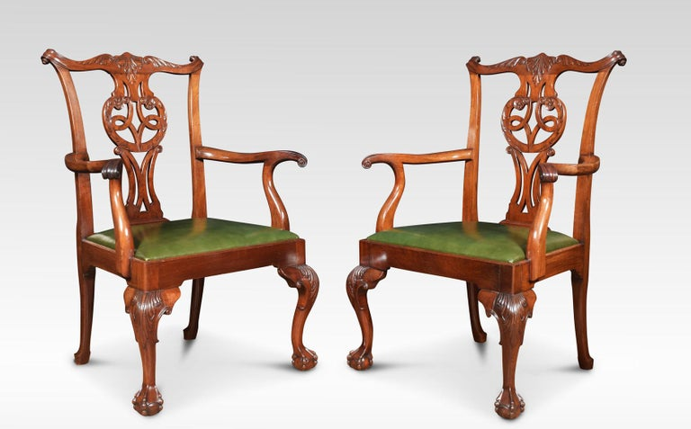 British Set of Eight Chippendale Style Dining Chairs For Sale