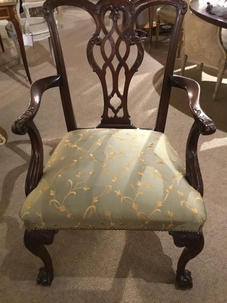 Set of Eight Chippendale-Style Mahogany Armchairs For Sale 3