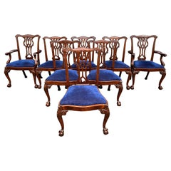 Set of Eight Chippendale Style Mahogany Dining Chairs w/ Blue Upholstered Seats