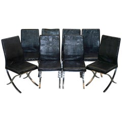 Set of Eight Chrome Black Faux Alligator Crocodile Patina Leather Dining Chairs