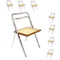 Set of Eight Chromed Folding Chairs, in Beech by Giorgio Cattelan for Cidue