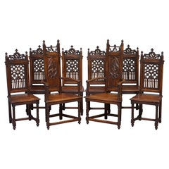 Set of Eight circa 1780 English Oak Gothic Revival High Back Dining Chairs 8 Set