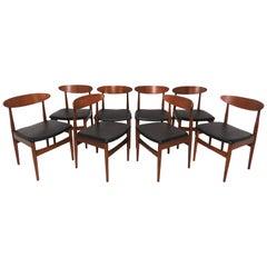 Set of Eight Classic Danish Teak Dining Chairs, circa 1950s