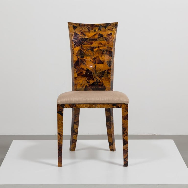 American Set of Eight Coconut Shell Veneered Dining Chairs, 1980s For Sale