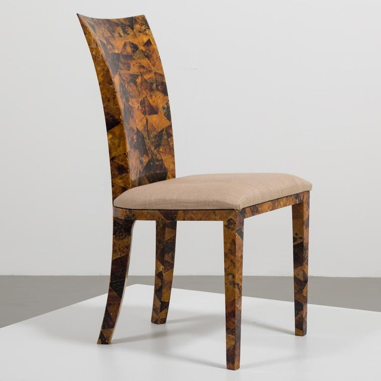 Set of Eight Coconut Shell Veneered Dining Chairs, 1980s In Fair Condition For Sale In Queen Camel, Somerset
