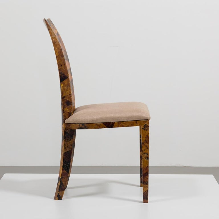 Set of Eight Coconut Shell Veneered Dining Chairs, 1980s For Sale 2