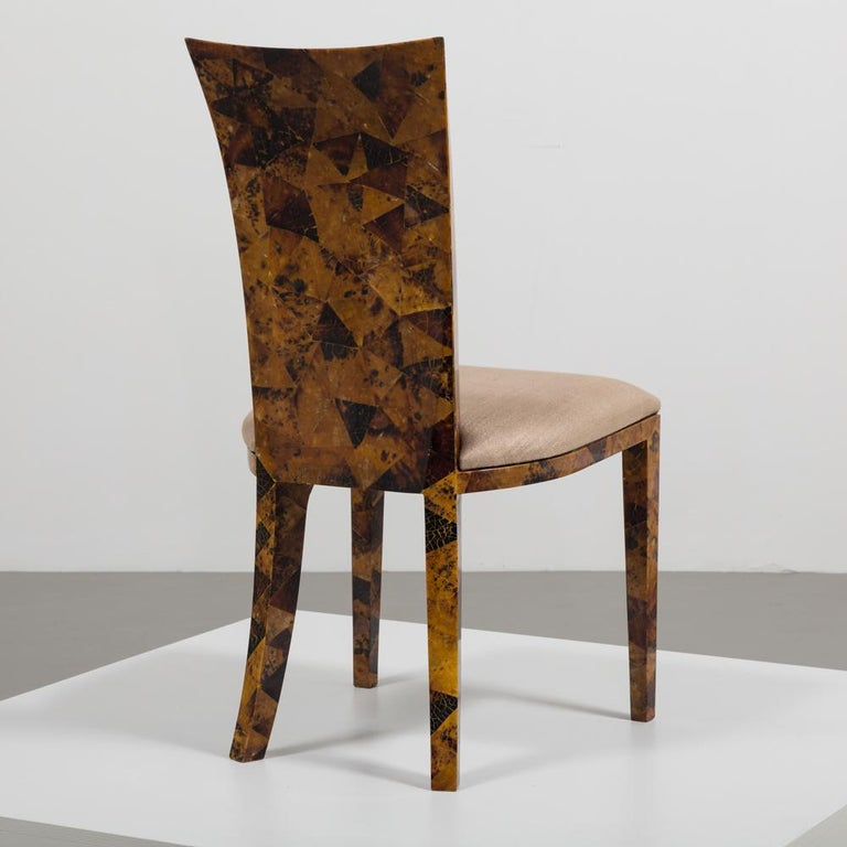 Set of Eight Coconut Shell Veneered Dining Chairs, 1980s For Sale 3