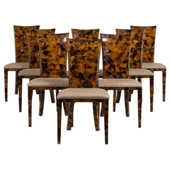 Set of Eight Coconut Shell Veneered Dining Chairs, 1980s