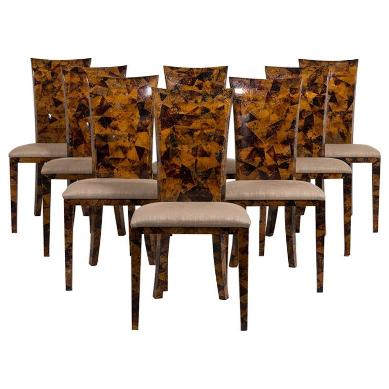 Set of Eight Coconut Shell Veneered Dining Chairs, 1980s For Sale
