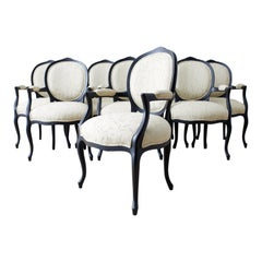 Set of Eight Contemporary Ebonized Dining Armchairs