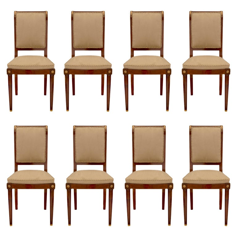 Set of Eight Continental 19th Century Biedermeier Style Dining Chairs For Sale