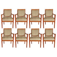 Set of Eight Continental Late 18th Century Cherrywood Dining Armchairs