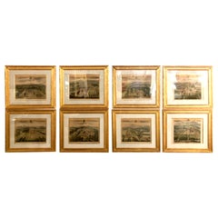 Set of Eight Copperplate Engravings Inscribed and Finely Framed, Leonard Knyff