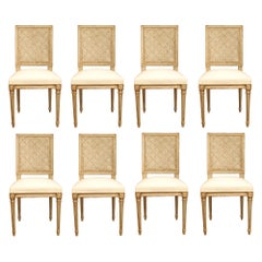 Set of Eight Country French Louis XVI Style Patinated Two-Tone Dining Chairs