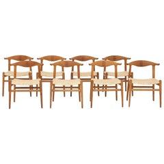Set of Eight Cow Horn Chairs by Hans J. Wegner, Maker Johannes Hansen