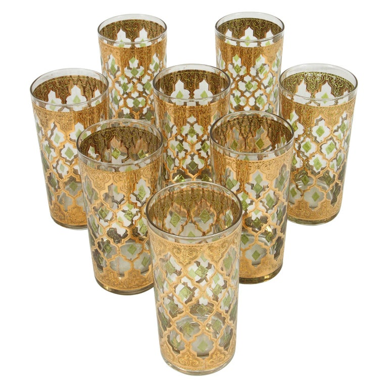 Set of Eight Culver Highball Glasses with 22-Karat Gold Valencia Design For Sale