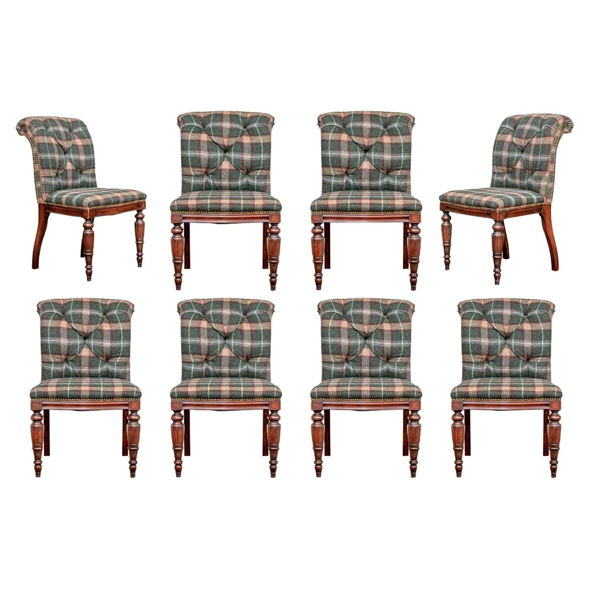 Set of Eight Custom Henredon Dining Chairs in Ralph Lauren Fabric