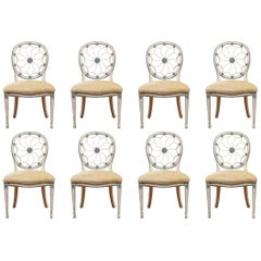 Set of Eight Custom Web Back Side Chairs in Ivory and Celadon Finish