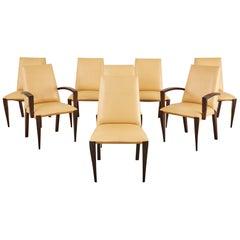 Set of Eight Dakota Jackson Leather Ke-Zu Dining Chairs