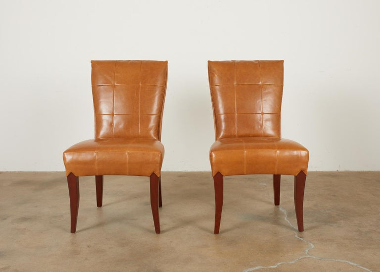 American Set of Eight Dakota Jackson Puff Leather Dining Chairs